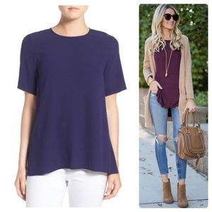 •EILEEN FISHER• Silk Crepe Round Neck Boxy Top XS